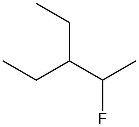 A bond line structure of an alkane containing a halogen as a functional group