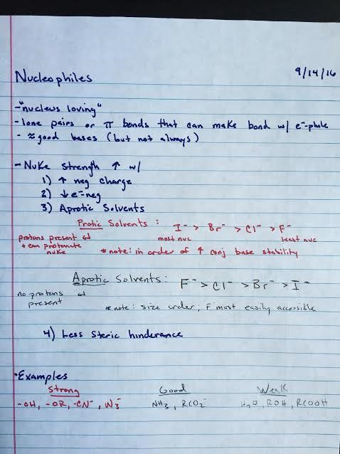 An example of well-written organic chemistry notes