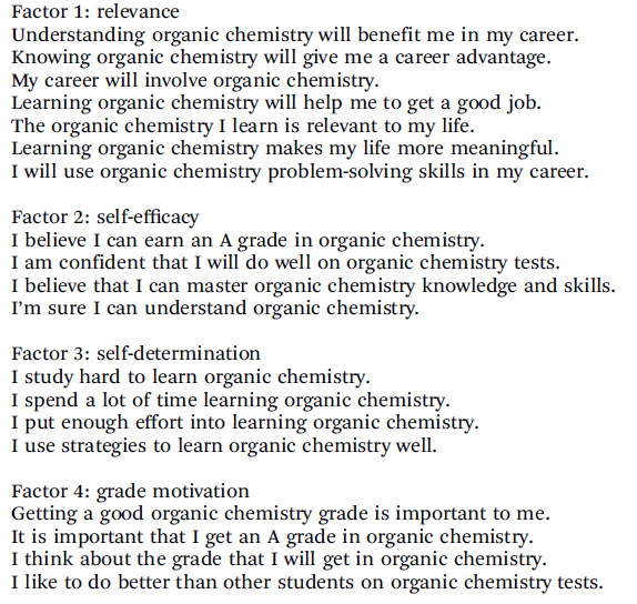 What Motivates the Top-Scoring Students in Organic Chemistry